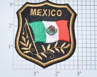 MEXICO Iron-on Embroidered Clothing Patch Flag in Shield Design w/Metallic Gold Threading Beautiful Travel Trip Tourist Souvenir Memento