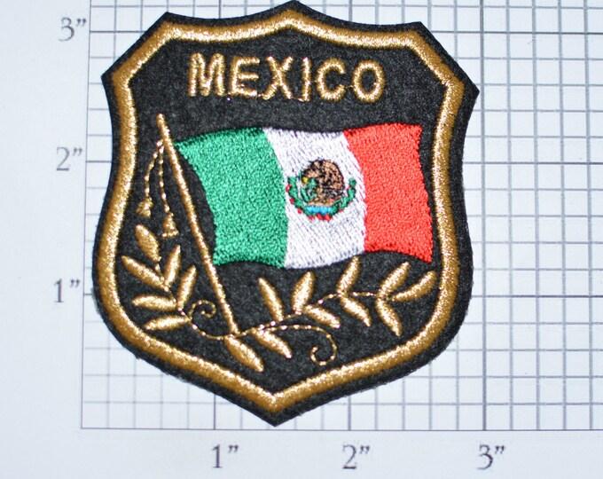 MEXICO Iron-on Embroidered Clothing Patch Flag in Shield Design w/Metallic Gold Threading Beautiful Travel Trip Tourist Souvenir Memento