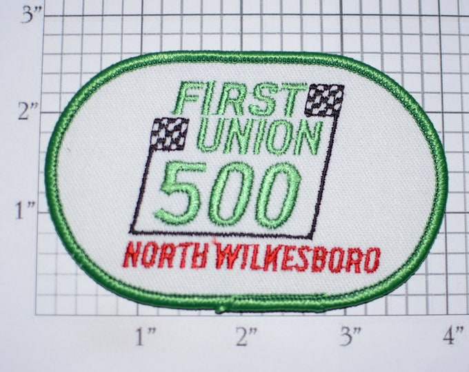First Union 500 North Wilkesboro Speedway (North Carolina) Closed in 1996 Vintage Embroidered Patch Event Souvenir Emblem for Racing Fan