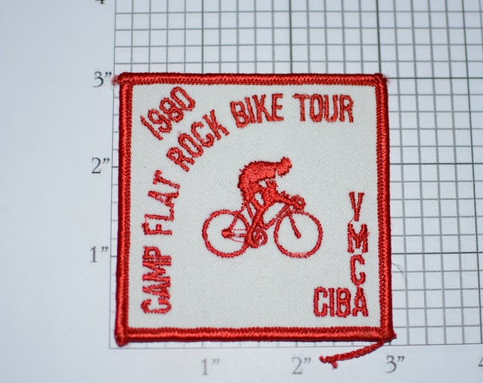 Camp Flat Rock Bike Tour 1980 Vintage YMCA CIBA Sew-on Embroidered Clothing Patch Bicycle Cycling Keepsake Collectible Memento Badge Emblem