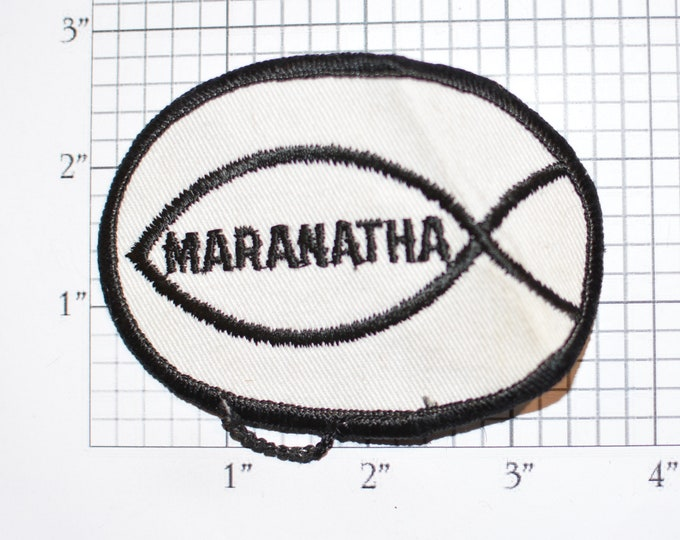 """MARANATHA Christian Church """"Our Lord Is Come"""" Sew-On Vintage Embroidered Clothing Patch for Jacket Vest Shirt Hat Clothes Emblem Badge Logo"""