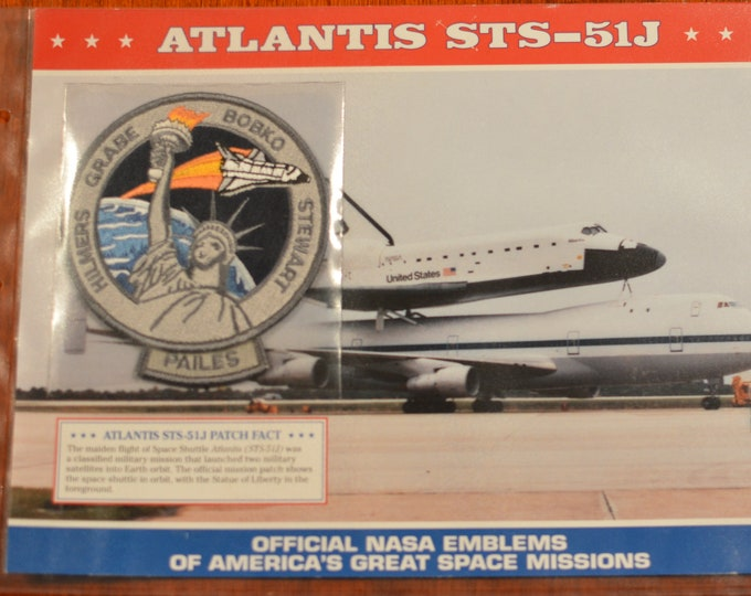 Space Shuttle Atlantis (Maiden Flight) STS-51J  DISCONTINUED Mint Space NASA Mission Patch w/ Statistics and Fact Card in Protective Sleeve