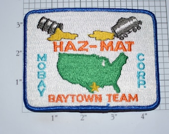 Mobay (Chemical Corporation) Hazardous Materials Team Baytown Texas Iron-On Vintage Embroidered Clothing Patch for Employee Uniform Jacket