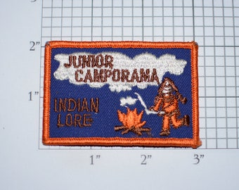 Junior Camporama Indian Lore Sew-On Vintage Embroidered Clothing Patch Badge Insignia Cub Boy Scout Collectible Keepsake Native American