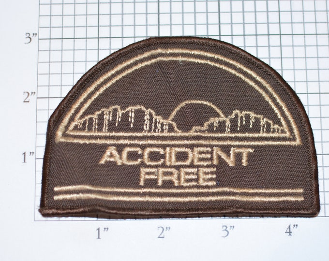 Accident Free Sew-on Vintage Embroidered Uniform Clothing Patch Applique for Truck Trucking Safe Driver or Industrial Worker Employee