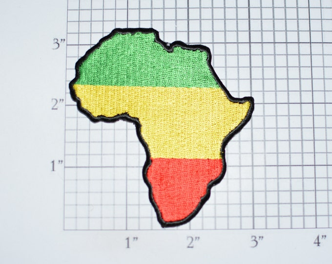 Africa Continent Map Outline Iron-on Embroidered Clothing Patch in Flag Colors Green Yellow Red African Pride for Shirt Jacket Backpack Vest