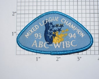 ABC WIBC (Women's International Bowling Congress) 1993-94 Mixed League Champion Iron-on Embroidered Clothing Patch Award Emblem Girl Ladies