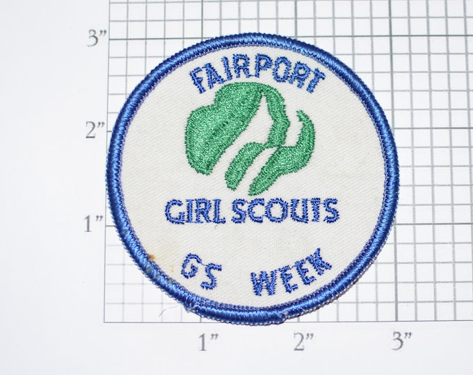 Fairport Girl Scouts GS Week Vintage Embroidered Clothing Patch Emblem Insignia Scouting Collectible Badge Memorabilia Keepsake Memento