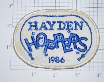 Hayden Hoppers (Jump Rope Team) RARE Sew-On Vintage Embroidered Clothing Patch (Dirty/Dingy) 1986 Crest Sport Collectible Keepsake Emblem