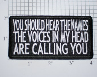 You Should Hear The Names Voices in My Head Are Calling You, Funny Iron-on Embroidered Clothing Patch Biker Motorcycle Vest Fun Gift Idea