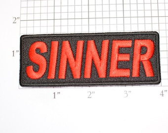 SINNER Red Text Iron-On (or Sew-On) Embroidered Clothing Patch for Biker Jacket Vest MC Motorcycle Rider Emblem Naughty Bad Boy (or Girl)