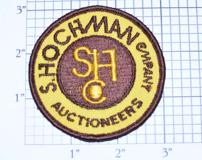 S Hochman Company Auctioneers SHC Vintage Sew-on Embroidered Clothing Patch for Uniform Shirt Jacket Vest Insignia Logo Emblem