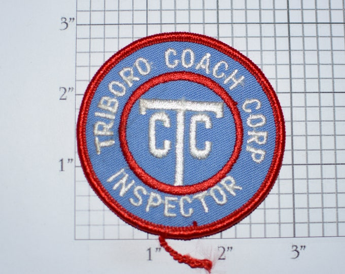 Triboro Coach Corp (TCC) Inspector (Defunct NYC Bus Service) Iron-On Vintage Embroidered Patch for Employee or Driver Uniform Shirt Jacket