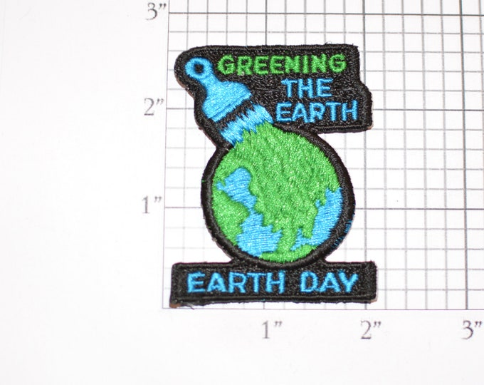 Greening the Earth Day Iron-On Vintage Embroidered Clothing Patch Environment Conservation Save the Planet Pollution Climate Change Logo