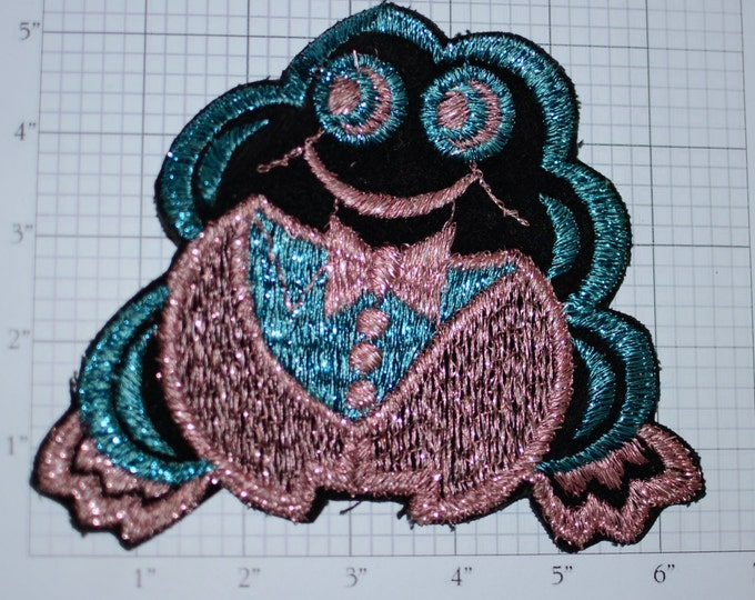 Large Wearing Tuxedo Sparkly Frog Metallic Thread Sew-on Vintage Embroidered Clothing Patch Sewing Notion Cute Fun Fashion Idea Retro Accent