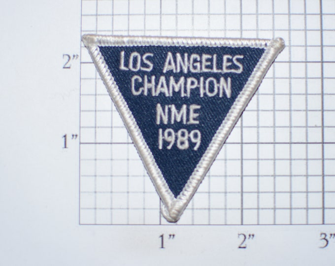 Los Angeles Champion NME 1989 (Unknown Origin) Triangular Iron-On Vintage Embroidered Clothing Patch for Jacket Vest Hat Backpack California