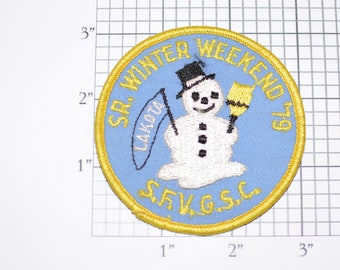 SFVGSC (San Fernando Valley Girl Scout Council) Sr Winter Weekend 1979 Snowman Logo Sew-on Embroidered Vintage Patch Collectible California