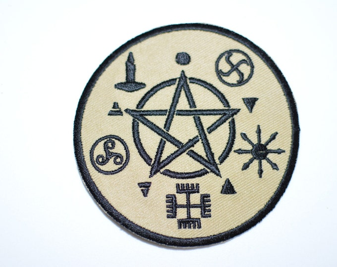 "Wicca Symbology 3"" Iron-on Embroidered Clothing Patch Star Pentacle Pentagram Witchcraft Pagan Wiccan Magick Occult Witch Magic Air Patch"