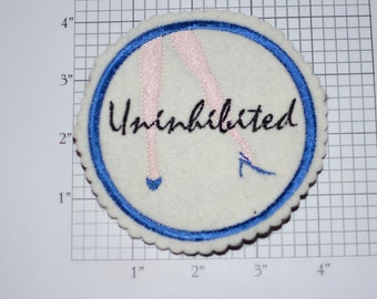 Uninhibited 4-Inch Sew-on Embroidered Clothing Patch Ladies Sexy Legs High Heels DIY Fashion Accent for Apparel Purse Bag Fun Woven Emblem