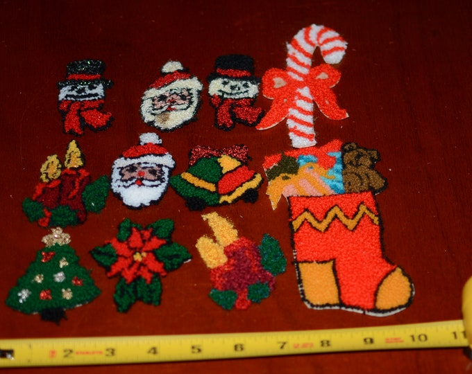 Soft Fuzzy Thick Santa Claus and Christmas Collection (11 Pieces) Xmas Vintage Clothing Patches Jacket Shirt Blanket Fun Sewing Craft Idea