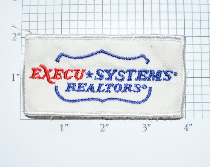 Execu Systems Real Estate Agent Patch, Rare Vintage Embroidered Sew-on Clothing Patch, Realty Executives Collectible Gift Idea Logo e33a