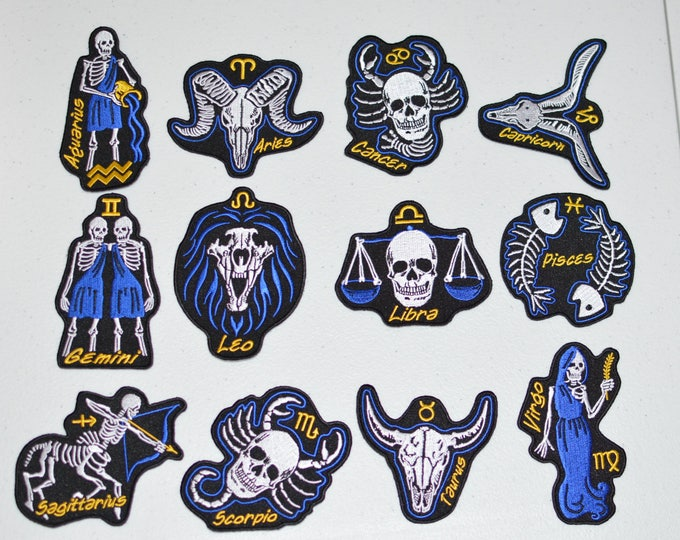 Skeleton Astrology Zodiac Birth Sign Iron-on Embroidered Clothing Patches (Lot of 12), Biker Jacket Vest Celestial Star Horoscope Death t02J