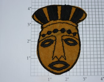 Woman's Face (Wearing Maybe Tribal Headdress) RARE Sew-On Vintage Embroidered Clothing Patch *Only 1 Available