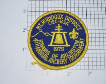 Mt Rubidoux District 1979 California Inland Empire Council CIEC Kiwanis of Arlington Archery Tournament BSA Sew-On Vintage Embroidered Patch
