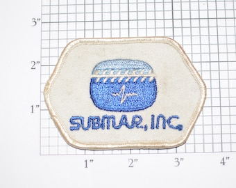 Submar Inc (Dirty and/or Distressed) Vintage Sew-on Embroidered Clothing Patch for Uniform Shirt Vest Logo Insignia Emblem