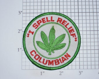 I Spell Relief Columbian Iron-on Vintage Embroidered Patch (Some Staining) Parody Funny Hippie 420 1970s Marijuana Leaf Pot Weed Logo Crest