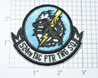 USAF 524th Tac Ftr Tng Sq (Tactical Fighter Training Squadron) Iron-On Vintage Embroidered Patch Cannon AFB NM Military Insignia Logo