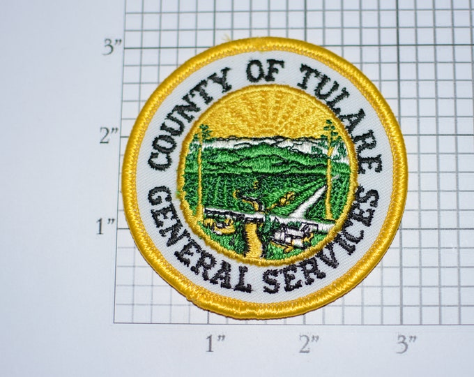 County of Tulare (California) General Services Iron-on Vintage Embroidered Clothing Patch Government Employee Emblem Collectible Woven Badge