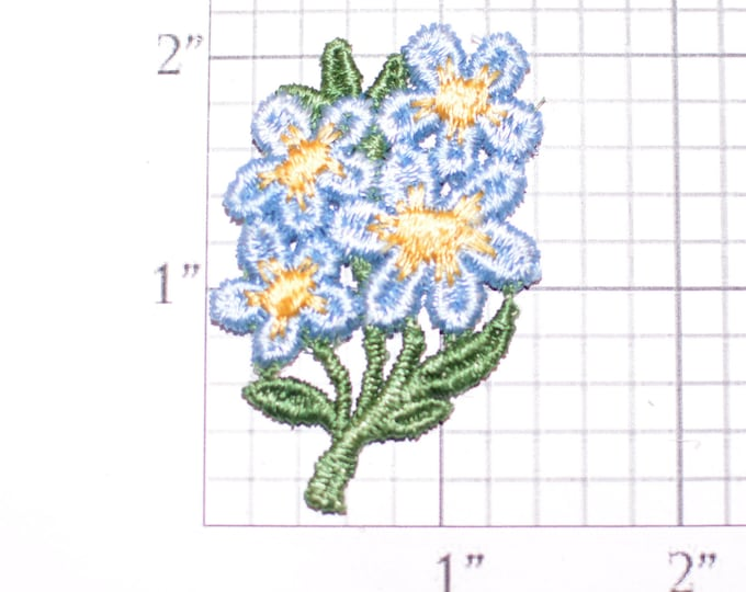 Blue Flowers Vintage Sew-on Embroidered Clothing Patch Applique for Craft Project Jacket Shirt Dress Hat Girl Clothes Hole Repair Cover Up