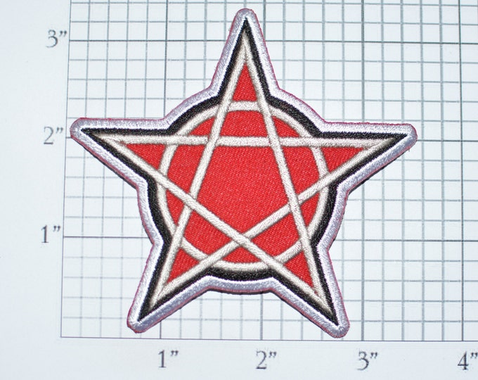 5 Point Star Iron-on Embroidered Clothes Patch for Jacket Vest Shirt Pentacle Pentagram Witchcraft Pagan Wiccan Occult Witch Magic Evil t03f