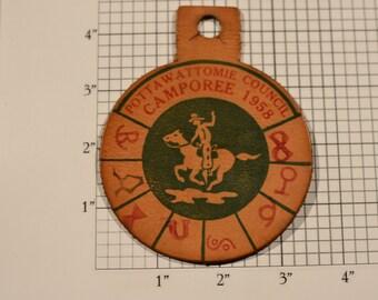 Pottawattomie Council Camporee 1958 BSA Leather Vintage Pocket Patch Uniform Shirt Jacket Boy Scouts Badge Collectible Keepsake Emblem Crest