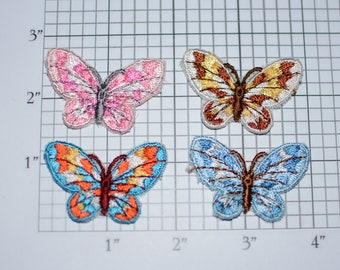 Beautiful Butterflies (Lot of 4 Pieces) Sew-On Vtg Embroidered Patches for DIY Craft Idea Clothing Clothes Fashion Accent Cute Decorative