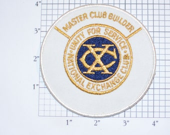 National Exchange Club (NEC) Unity for Service, Master Club Builder RARE Sew-On Vintage Embroidered Patch Collectible Keepsake Emblem Logo