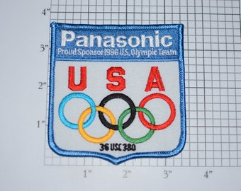 Panasonic Proud Sponsor 1996 US Olympic Team Summer Games Atlanta MINT Iron-On Vintage Embroidered Patch Athletics Souvenir Collectible