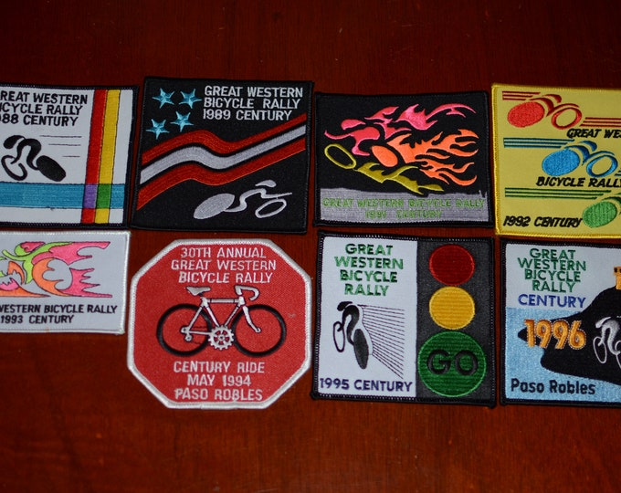 Great Western Bicycle Rally CENTURY Participant Emblem (Paso Robles California CA) Embroidered Patch Cycling Keepsake Bike Rider Collectible