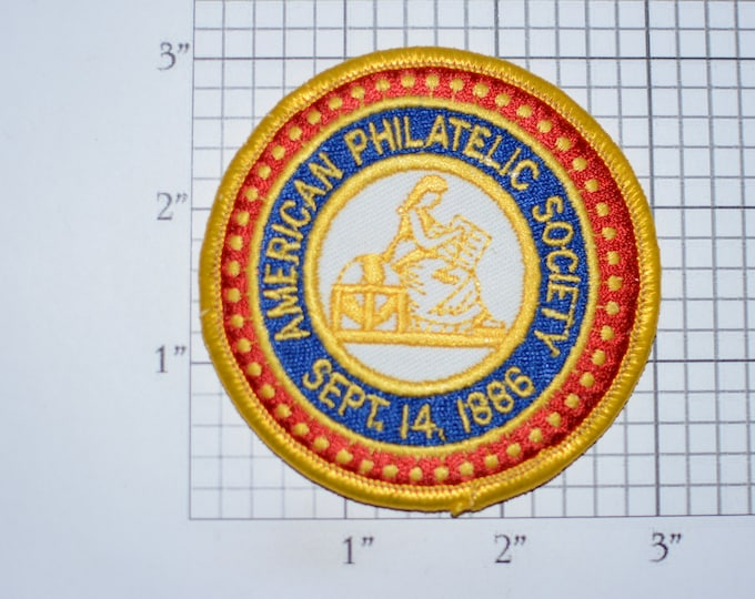 American Philatelic Society (Stamp Collecting) Iron-On Vintage Embroidered Clothing Patch Logo Emblem Insignia for Jacket Shirt Vest Hat
