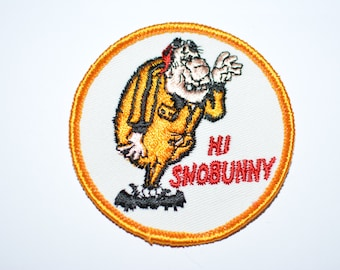 "Hi SnoBunny- Funny Icebreaker Rare 3"" Circular Sew-On Vintage Patch *Limited Stock*  e12"