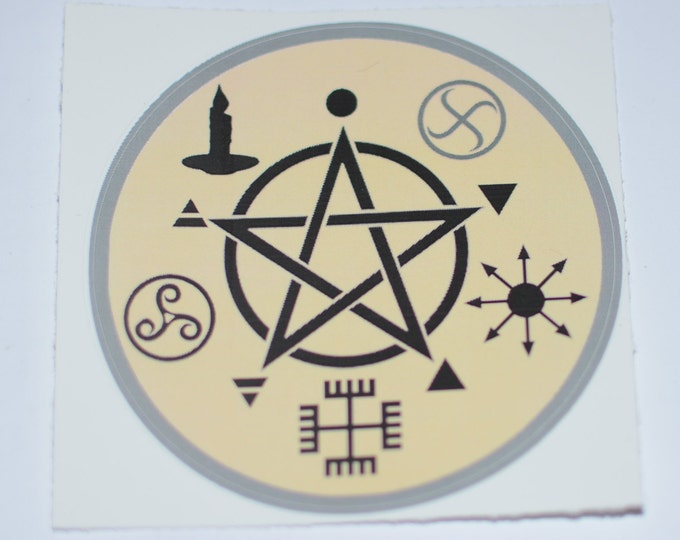 """Wicca Symbology 3"""" Vinyl Decal Sticker (Weatherproof) Star Pentacle Pentagram Witchcraft Pagan Wiccan Occult Witch Magic Air Mystic Spell"""
