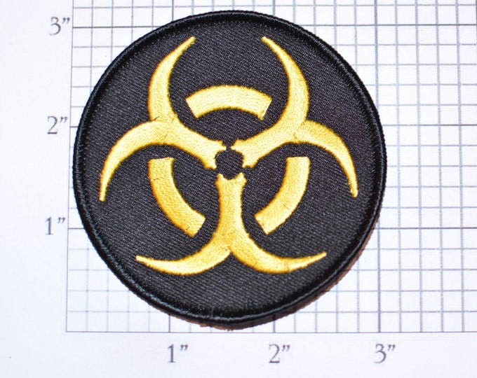 Yellow on Black Biohazard Symbol Iron-on (or Sew-on) Embroidered Clothing Patch for Biker Jacket Vest MC Shirt Jeans Backpack Hat Gift Gamer