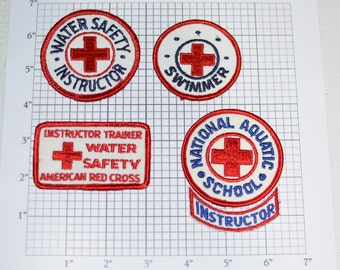 American Red Cross ARC Water Safety RARE Vintage Sew-on Embroidered Clothing Patches Water Safety Instructor National Aquatic School e24b