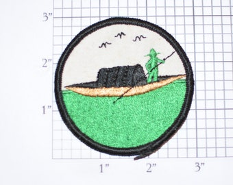 Gondola Gondolier Water Transport Rowing Boat Sew-on Vintage Embroidered Clothing Patch (Great Condition) Rare Unique Collectible Crest