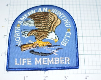 North American Hunting Club Life Member Vintage Iron-on Embroidered Patch SILVER METALLIC THREAD Rifle Bow and Arrow Eagle for Jacket Shirt