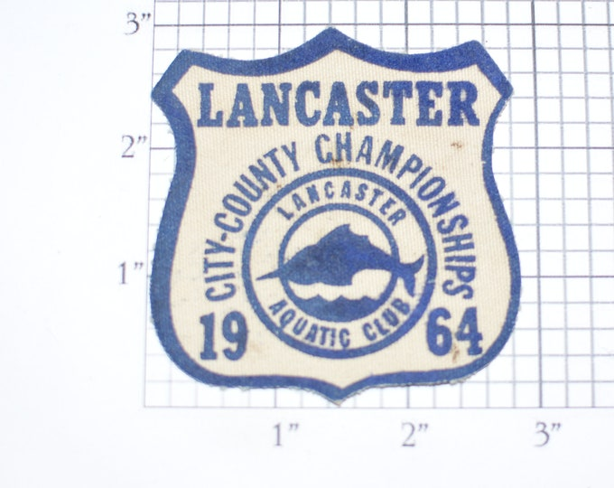 Lancaster City - County 1964 Championships Aquatic Club Vintage Sew-on Clothing Patch for Jacket Vest Shirt Hat Sports Collectible Crest
