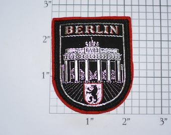 Berlin (Brandenburg Gate) Germany Metallic Silver Threading Emblem Vintage Sew-on Travel Trip Souvenir Embroidered Patch Crest Coat of Arms