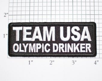 Team USA Olympic Drinker Iron-on Embroidered Clothing Patch Biker Jacket Vest Drinking Athlete Funny Bachelor Party Idea Bachelorette Hen