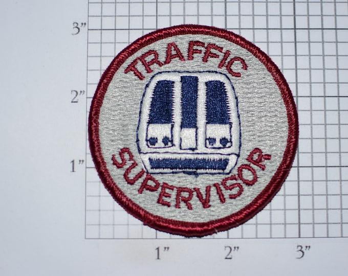 Traffic Supervisor Iron-On Vintage Embroidered Clothing Patch for Employee Uniform Shirt Jacket Emblem Logo Workshirt Worker Costume Subway